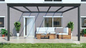 aluminium overkapping met glazen dak