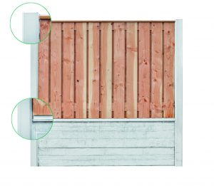 hout-beton schutting met dubbele onderplaat grijs
