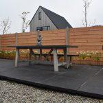 Douglas beton schutting systeem potdekselplanken, 80x80 tegels oud hollands schellevis