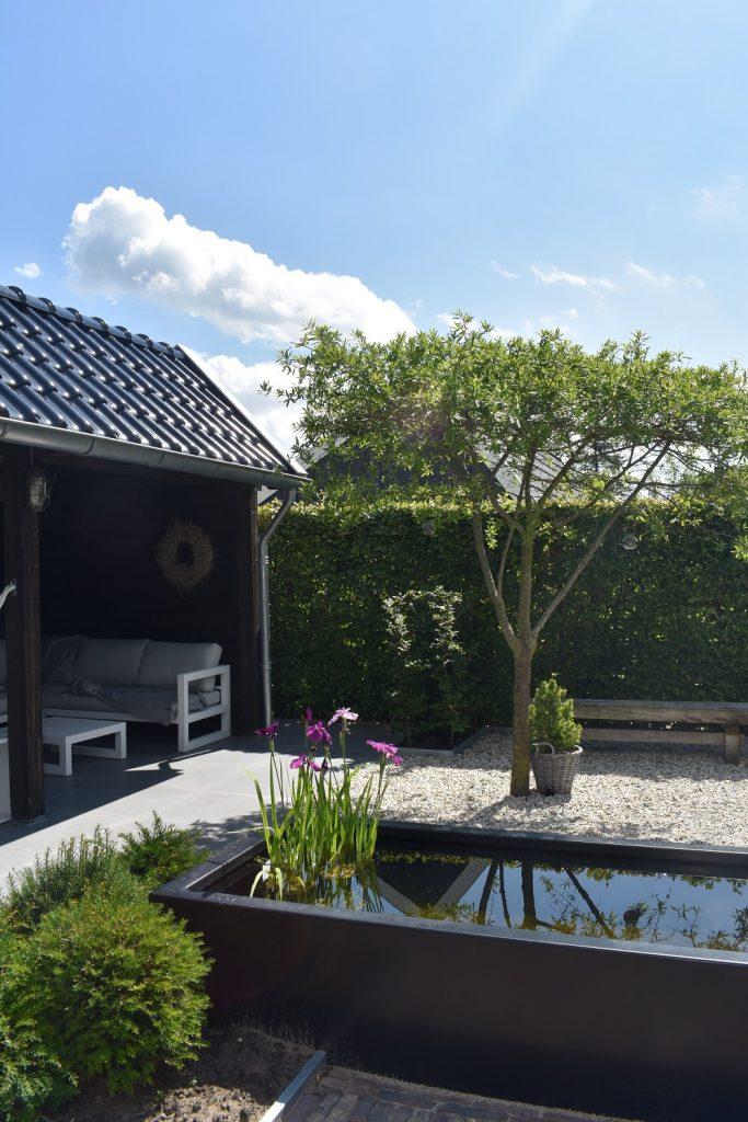 landelijke tuin met dakplantaan, wit grind, een vijver en Douglas kapschuur