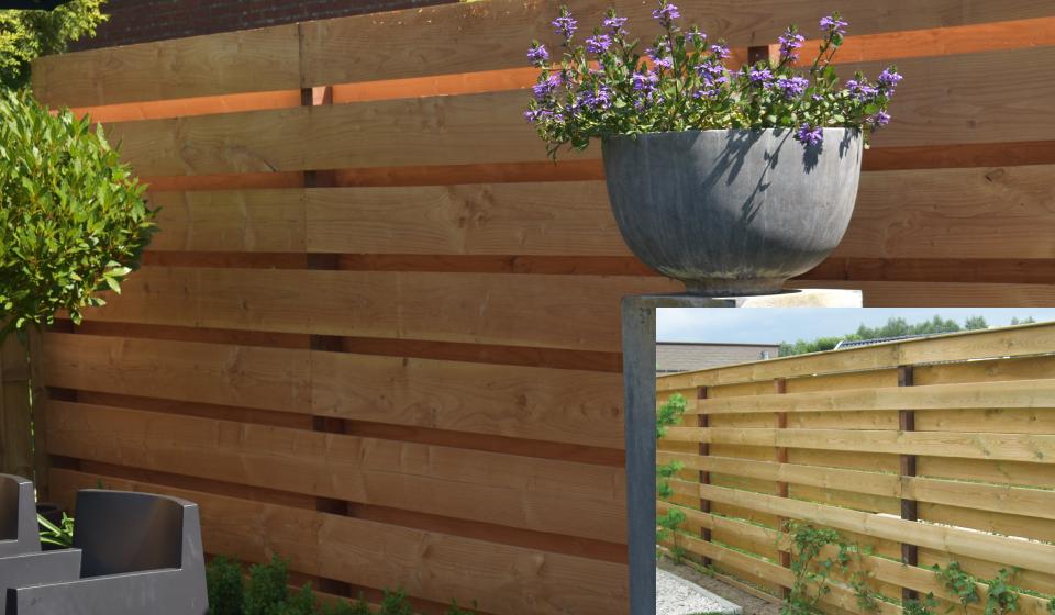 Horizontale planken met hardhouten palen